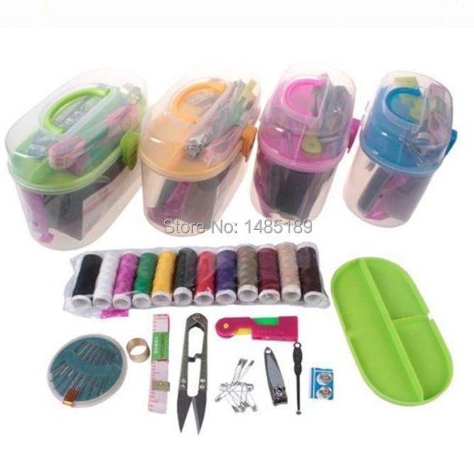 Free shiping double portable domestic sewing sewing box knitting needles set crochet hook color random(China (Mainland))