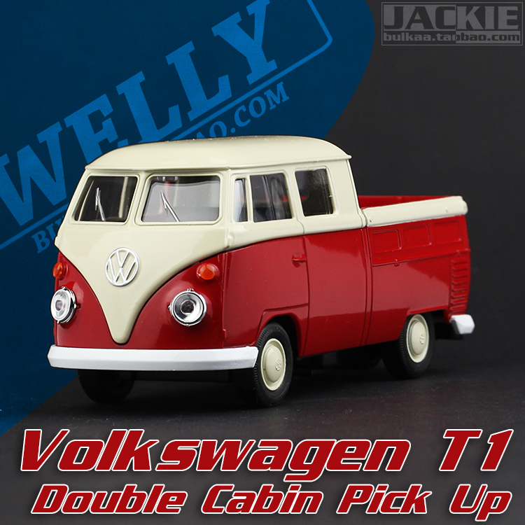 Super 1pc 1:36 11.3cm mini delicate welly Volkswagen T1 Double Cabin Pickup truck model alloy car home decoration gift toy(China (Mainland))