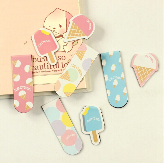 2 pcs/pack Novelty Ice Cream Magnet Bookmark Paper Clip School Office Supply Escolar Papelaria Gift Stationery(China (Mainland))