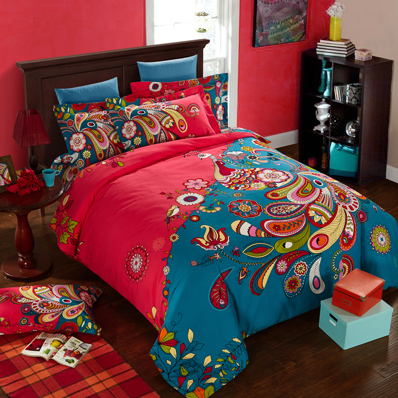 Online get cheap peacock feather bedding alibaba group - Peacock bedspreads ...