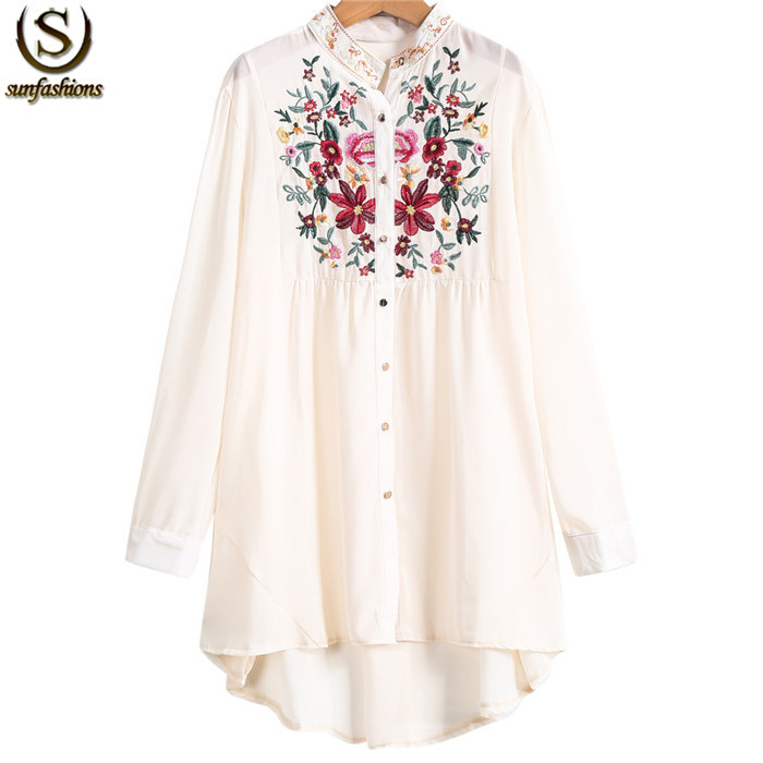 Womens Brand Spring Apricot Stand Collar Long Sleeve Floral Embroidered Dipped Hem Blusas Latest Designs Street Blouse(China (Mainland))
