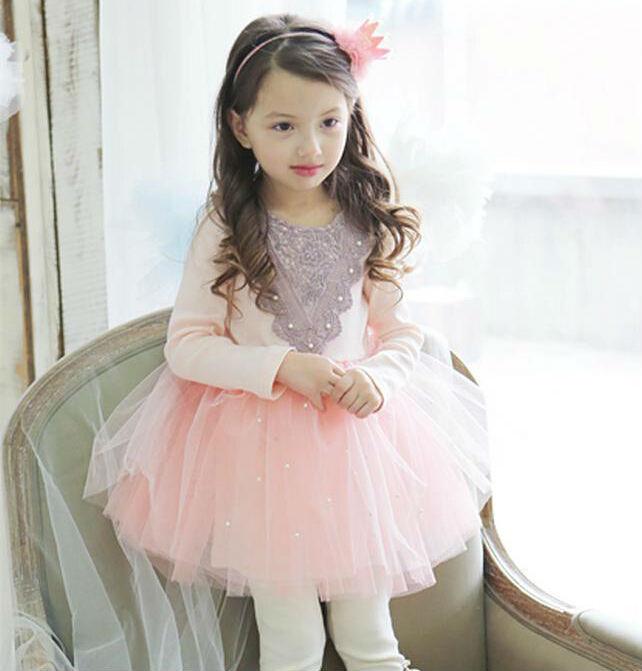 2015 New Spring Korean Style  Long Sleeve Pearls Mesh Girl Tulle Dress  Children Princess Dress Kids TUTU Dress Pink Blue<br><br>Aliexpress