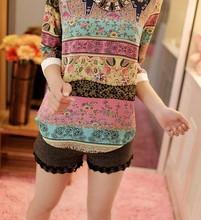 New 2015 Summer Women Korean Chiffon Print Lace Three Quarter Puff Sleeve O neck Loose Tee