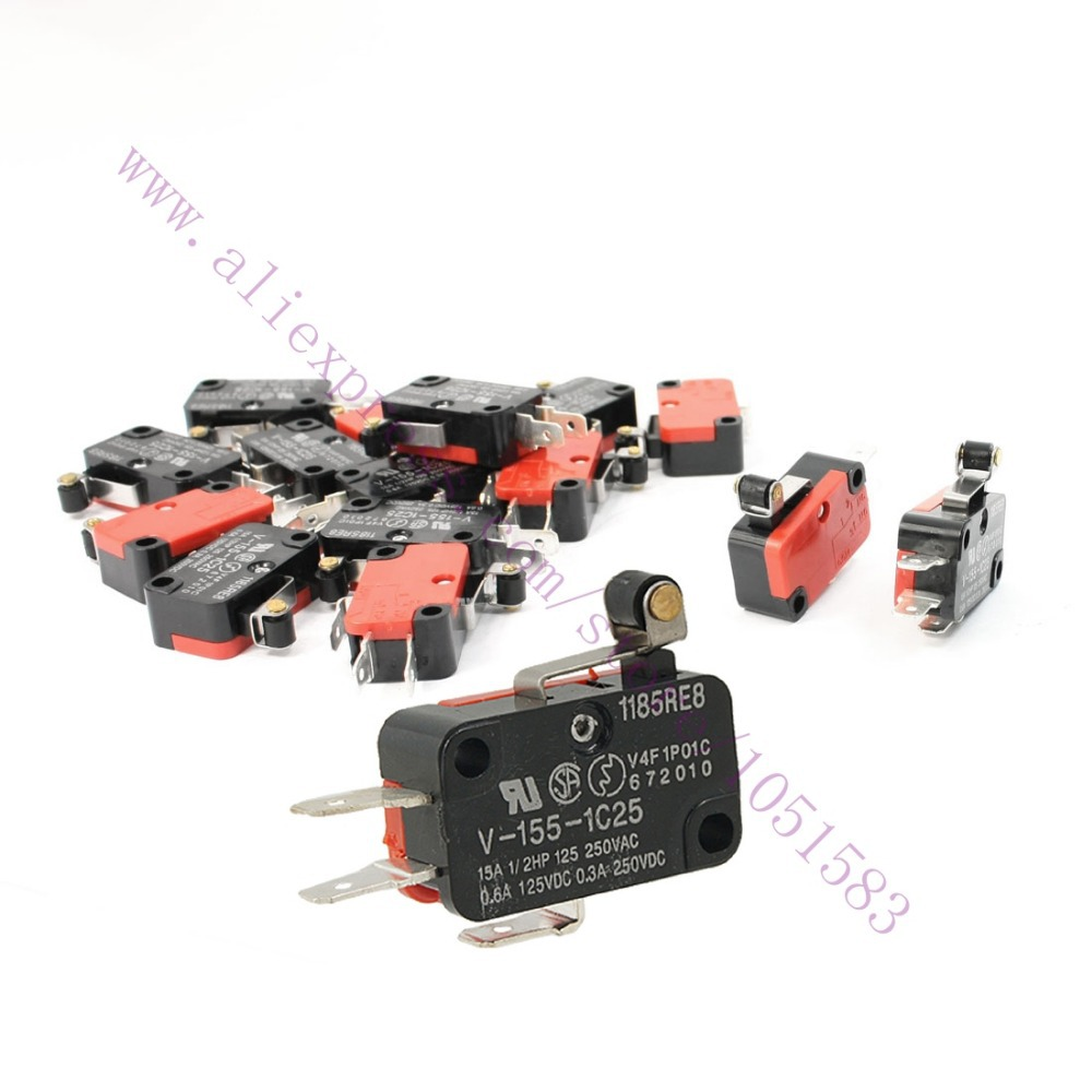 10pc / lot ,V-155-1C25 Short Hinge Roller Lever Arm SPDT Momentary Micro Limit Switch 15A 250V AC For 3D Printer Reprap(China (Mainland))