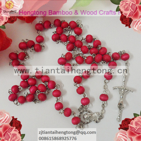 free shipping 5pieces/lot pink rosary necklace/bead rosary/wooden bead rosary necklace special offer(China (Mainland))