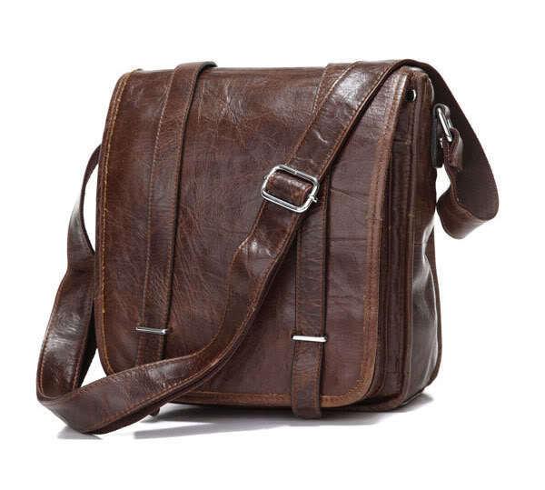 Qualité rétro en cuir véritable hommes sacs à bandoulière nouvelle arrivée café Oblique homme sac chaîne sac bandoulière fronde sac de messager(China (Mainland))