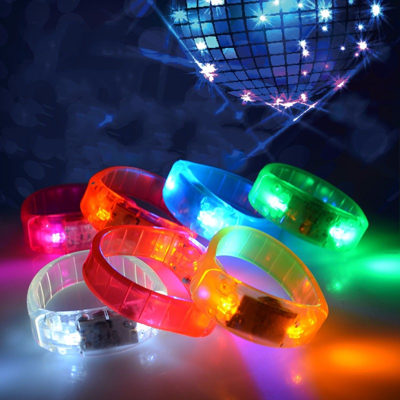 Music Activated Led Flashing Bracelet Light Up Bangle Wristband Night Club Activity Party Bar Disco Cheer Lights(China (Mainland))