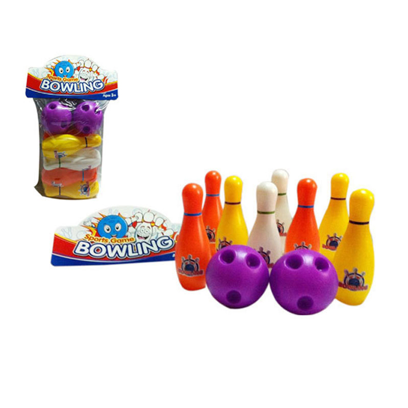 Colorful Standard 10 Piece Bowling Set 8 Pins, 2 Bowling Balls Kids Educational Toy Party Fun Family Game For Children(China (Mainland))