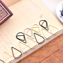 Metal Material Drop Shape Paper Clips gold silver color funny kawaii bookmark office shool stationery marking clips(China (Mainland))