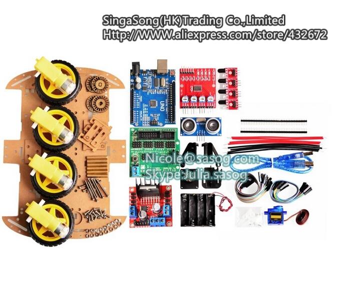New Avoidance tracking Motor Smart Robot Car Chassis Kit Speed Encoder Battery Box 4WD Ultrasonic module For Arduino kit.
