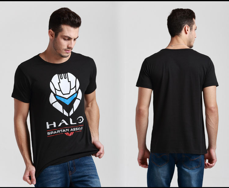 Mens Casual Summer Halo Spartan Assault T-shirts Printed Pattern 100% Cotton Tee Shirts Top Short Sleeve Black Color(China (Mainland))