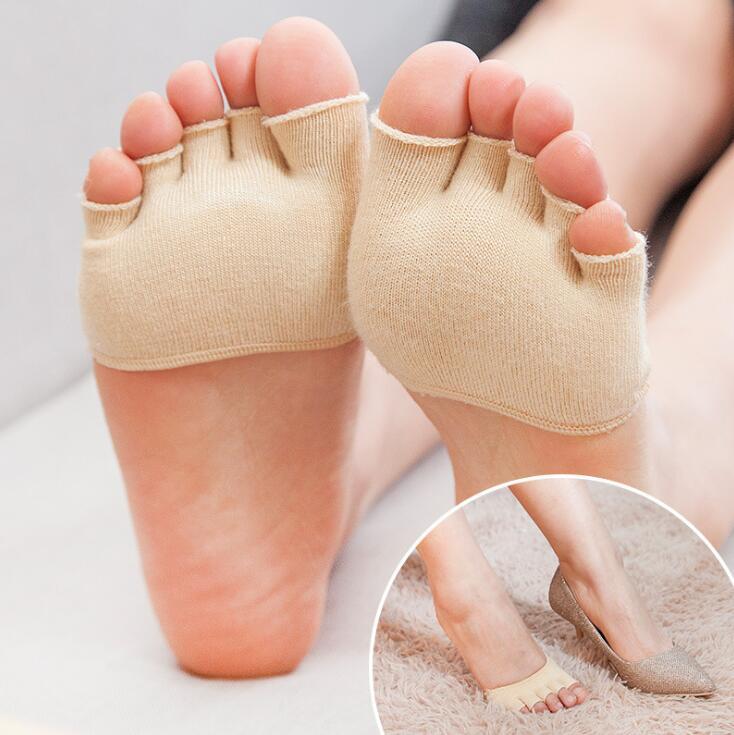 2017 Women Girls Non Slip High Heels Sandal Invisible Half Footie Open Cotton Blend Toe Socks top quality