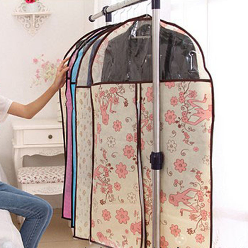 Home Clothes Organizer Bag Dress Clothes Storage Bag Flower Printed Non-Woven Suit Garment Coat Dustproof Cover Bags 3 Size(China (Mainland))