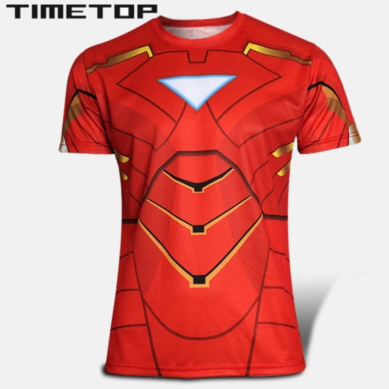 Red iron man batman spiderman superhero t shirt men 2015 Boys superhero t shirts