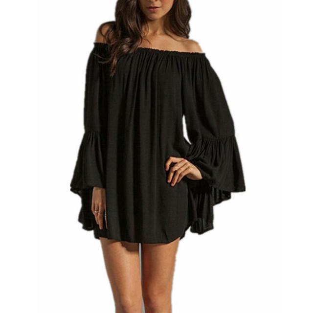 4 цветов 2015 новинка женщины мини-платье слэш шеи-плеча шифон твердые свободного покроя широкий Vestidos Большой размер S-3XL
