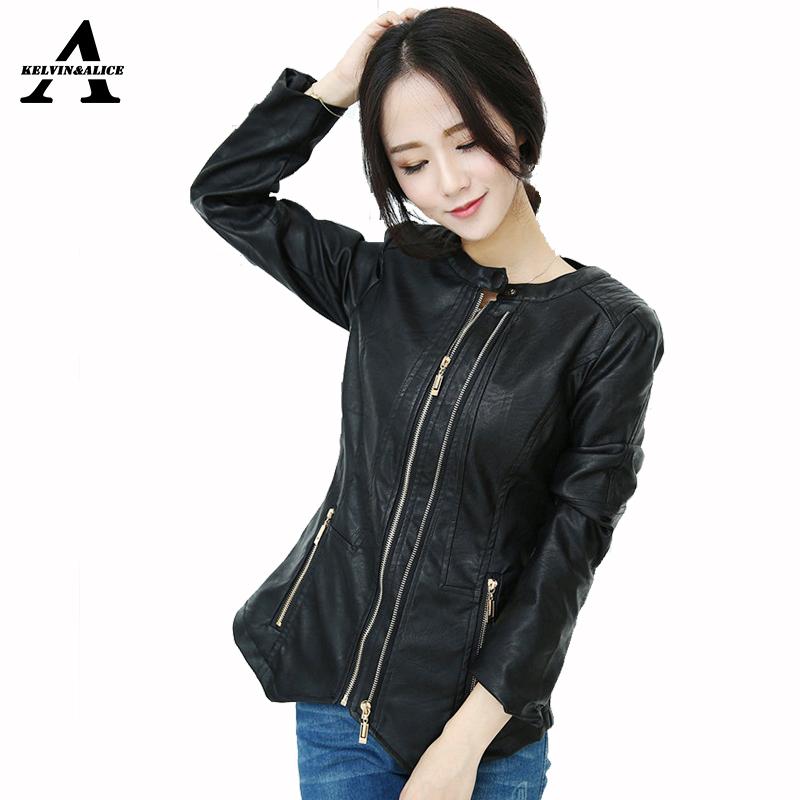 New Big Size Women's Leather Jacket Spring Autumn PU Blazer Plus Zipper Long Sleeve O neck Coat  Black Red XXL To 6XL P662
