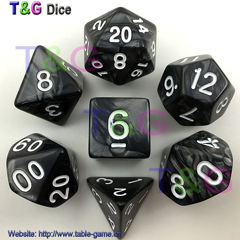 7pc Bag High Quality Multi Sided Dice With Pearlized