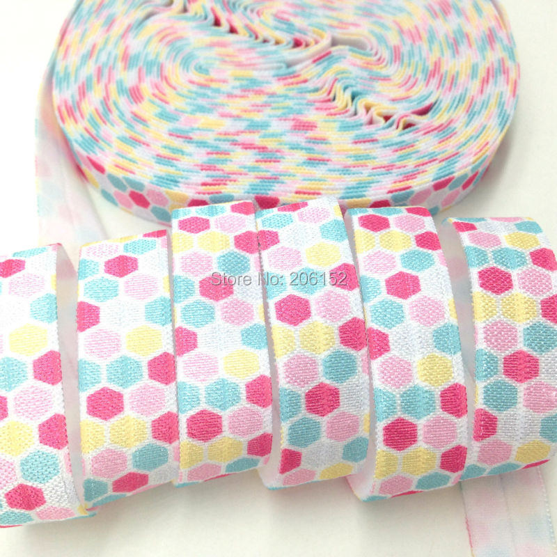 "10yards/lot 5/8"" Polka Dot Print White Fold Elastic Dot Print FOE Ribbon Webbing DIY Headwear Hair Accessories"