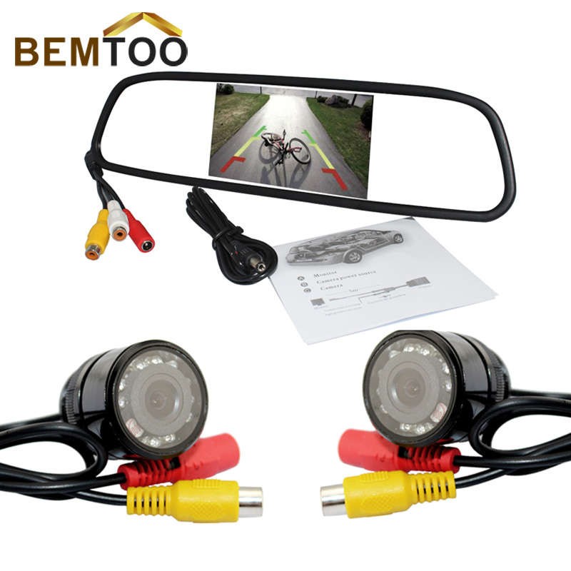 Real Car Camera Inch Hd Rear View Mirror Monitor 2ch Video Input 800*480 Car Monitor+Night for Vision Camera And Front(China (Mainland))