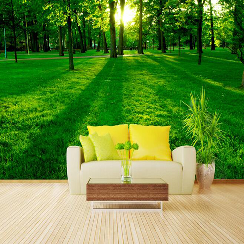 Great wall 3d green nature sun forest photo wallpaper - Papel de pared moderno ...