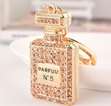 Christmas gift charm Crystal perfume bottle keychain fashion gold-plated key chain ring holder women bag&car accessories