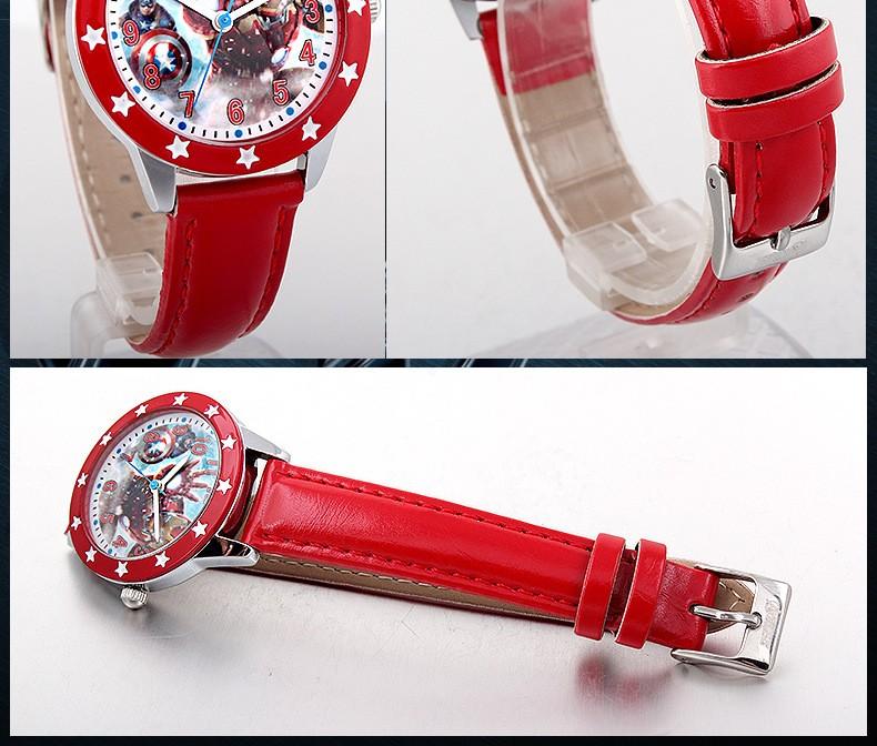 Disney бренда детская наручные часы Мальчик в девочке Мстители железный Человек Капитан Америка Халк 30 м водонепроницаемый кварцевые часы кожа