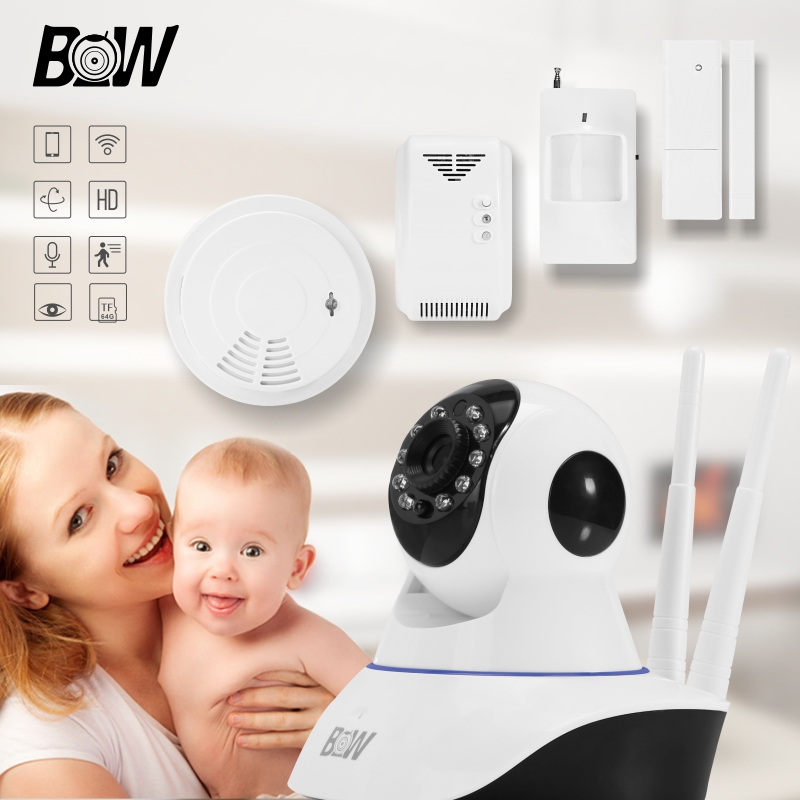 Wireless Security IP Surveillance Camera Wifi HD 720P P2P Automatic Alarm P/T Infrared Motion/Door Sensor + Smoke/Gas Detector(China (Mainland))