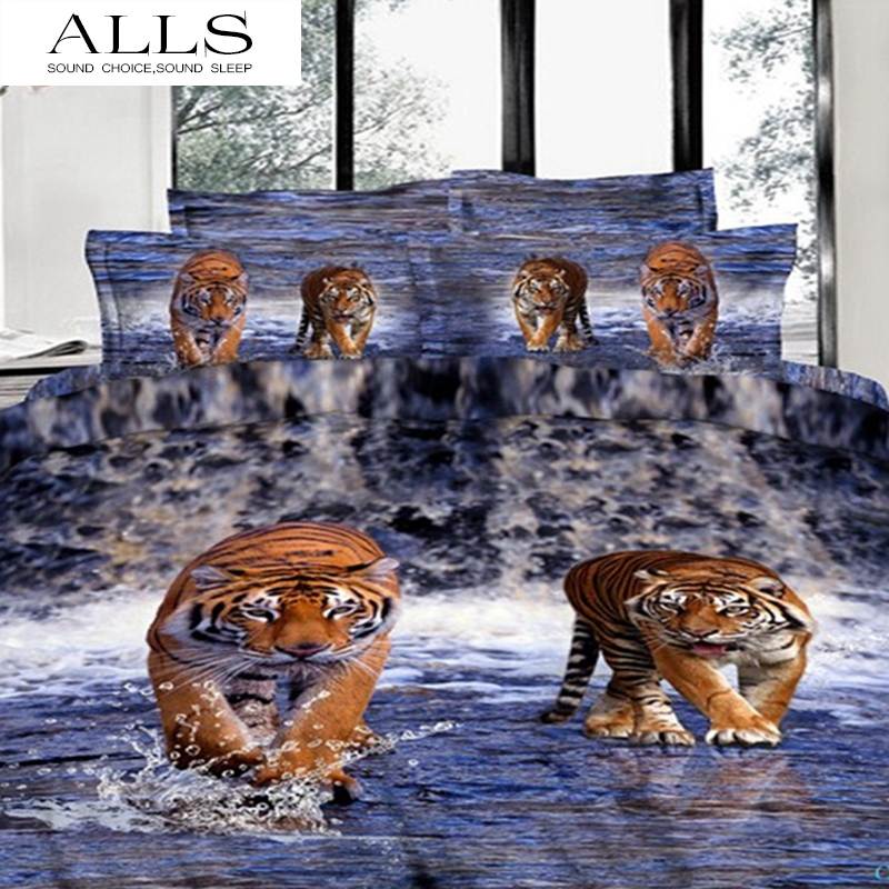 100% cotton 3d oil painting bed linen/white tiger bedding set for boys/duvet cover flat sheet pillow case /king size(China (Mainland))
