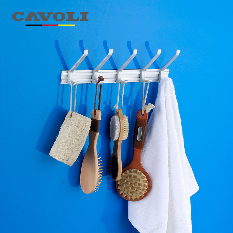 Cavoli 5 Hooks Aluminum Alloy Anodizing Robe Coat Hooks hanger Bathroom wall housekeeper hanger loop Kitchen Accessories #9117-5(China (Mainland))