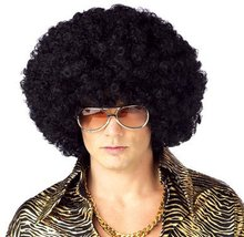 Harajuku Anime Dance Party Afro Wig Cosplay Short Curly Costume Synthetic Fiber Black Wigs Ball Fans Halloween Peruca Pelucas(China (Mainland))