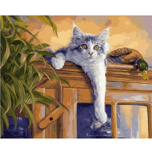 Buy DIY oil painting by numbers decorative canvas brush wall painting paint coloring by number handwork acrylic drawing cats E403 for $7.65 in AliExpress store