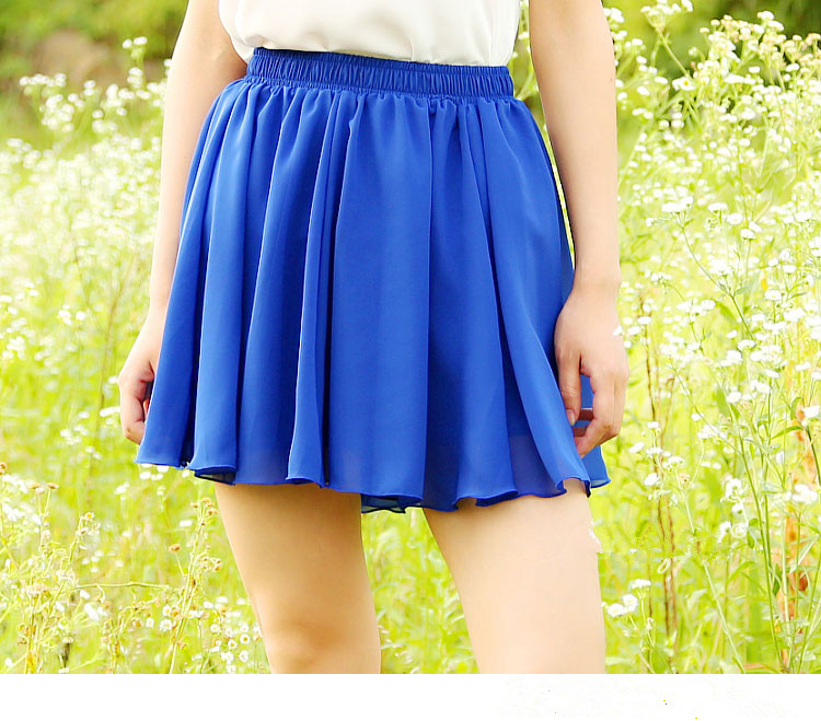 2016 Summer Chiffon Women Skirt Tulle Saia Faldas Girls Above Knee Short Nude Mini Casual Skirts 16 color one size(China (Mainland))
