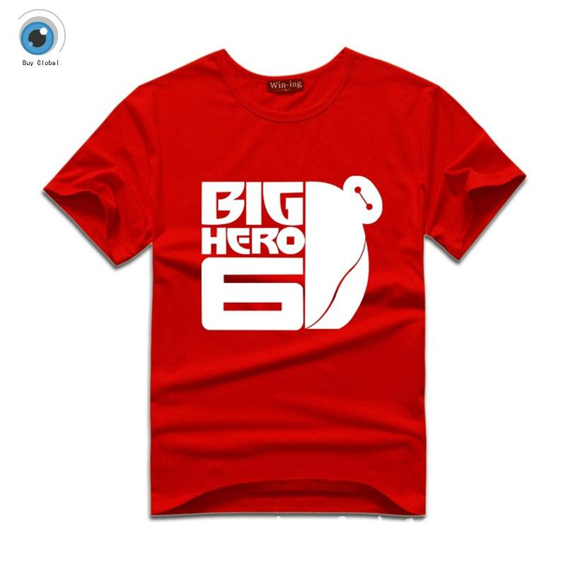 Big hero 6 super marines fat white short sleeved t shirt for Thick white cotton t shirt