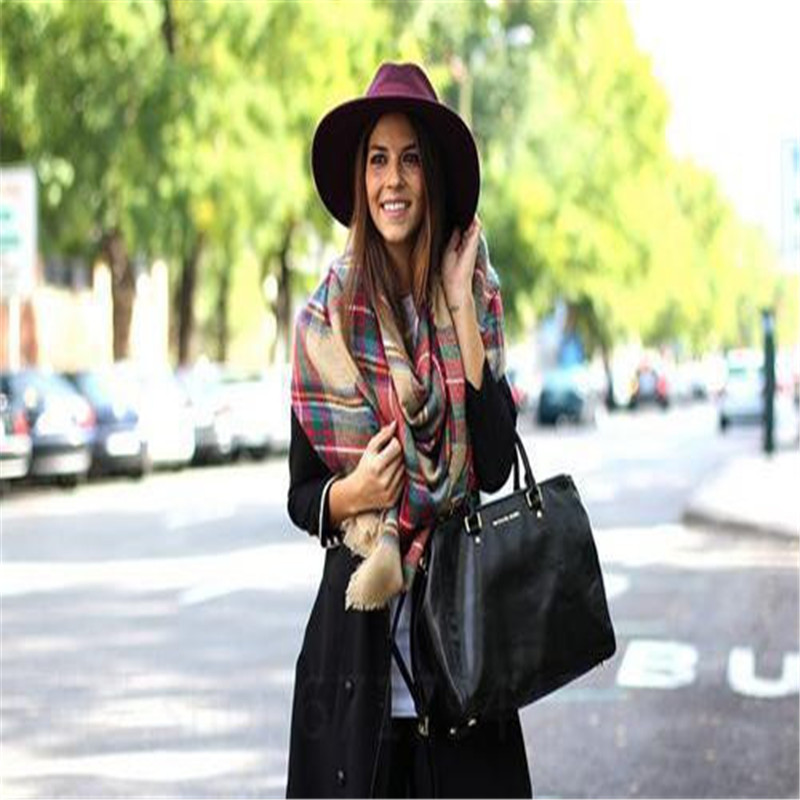 2016 Vintage Winter Scarf Fashion Plaid Scarf Wool Big Scarf Plaid Warm Long Cotton Scarves Pashmina For Women Men(China (Mainland))