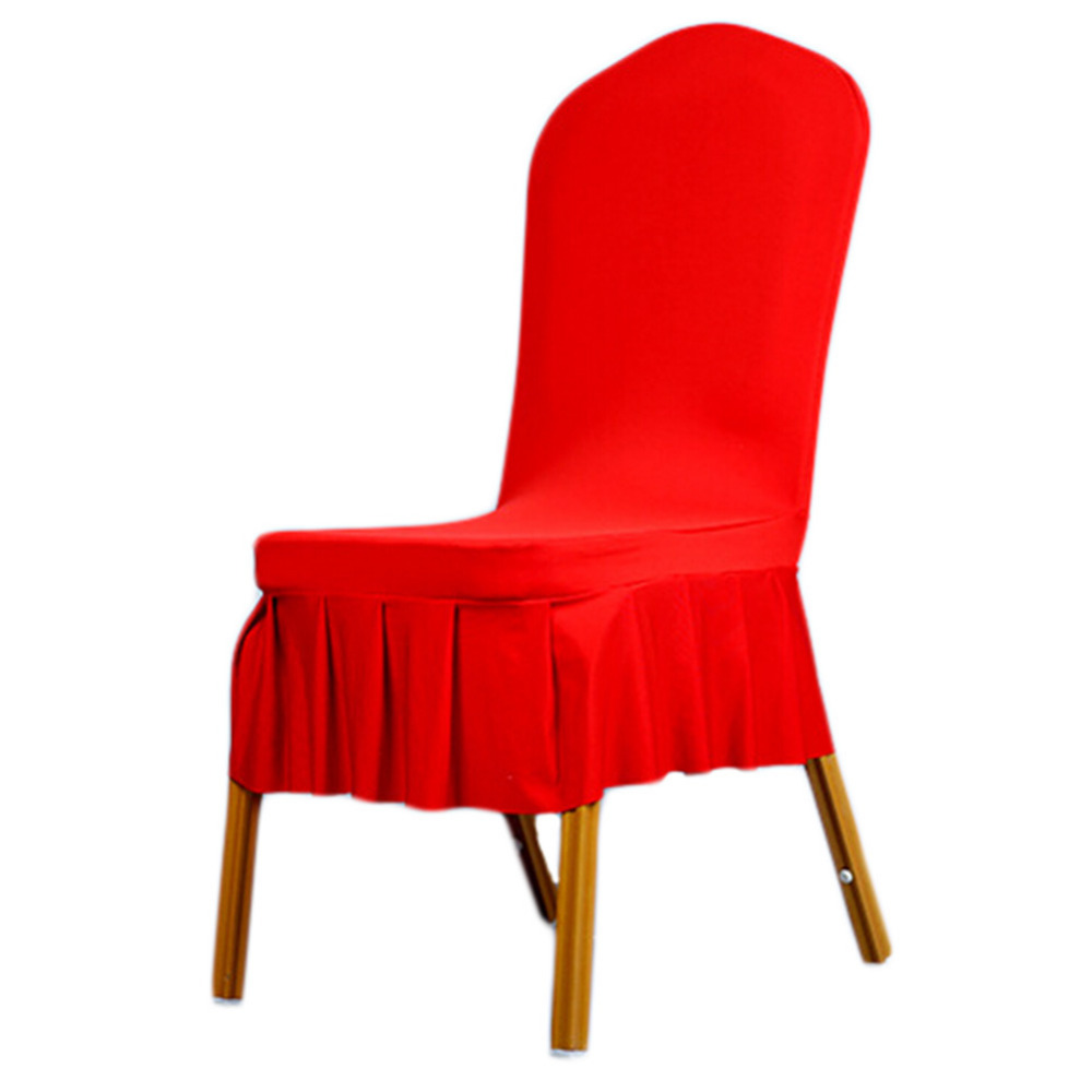 Pure Color Stretch Folding Skirt Dining Chair Cover Machine Washable Restaurant For Wedding Banquet Home Decoration Decor(China (Mainland))