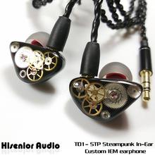 Hisenior UE IEMs In Ear Monitor Black Carbon Fiber Steampunk Hifi  CIEM Custom Headphone Earphone with MMCX Connector Cable