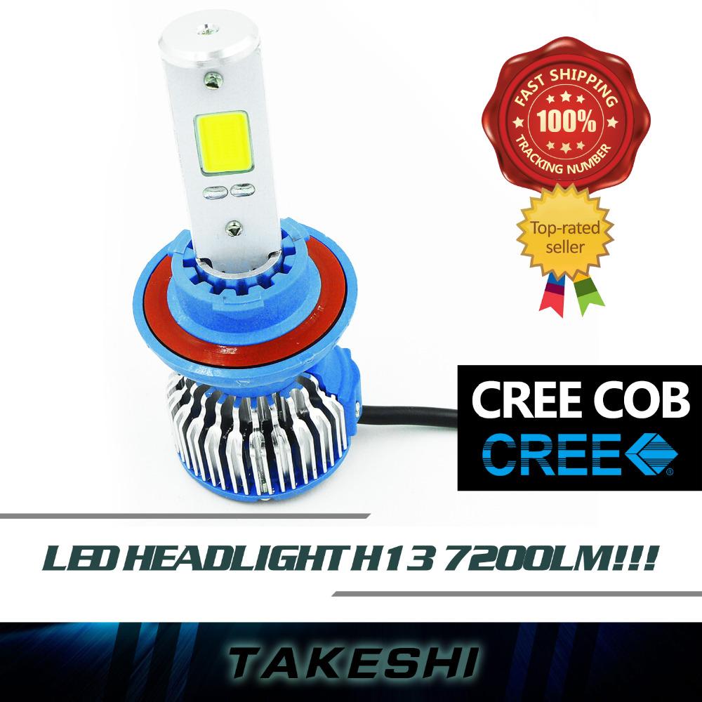 Pair Top CREE LED COB H13 60W/Set 8000LM/Set Hi Lo Beam Lamp lights Car White Fog Headlight Headlamps Long Service Life W/ Fans