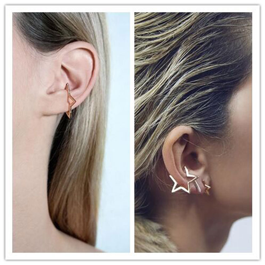 Unisex Fashion Punk Rock Ear Clip Cuff Wrap No piercing-Clip On Earring Jewelry(China (Mainland))