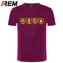 REM Marchio di Abbigliamento Wake Caffè Rider Birra Bicicletta Divertente Maglietta Tshirt Uomini Cotone Manica Corta T-Shirt Top Camiseta(China)
