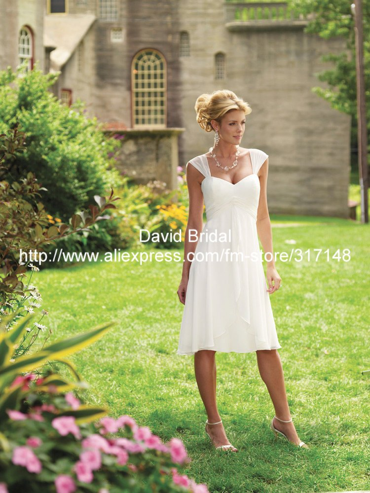 Free shipping dv0228 empire knee length cap sleeve casual for Mother of bride dresses for country wedding