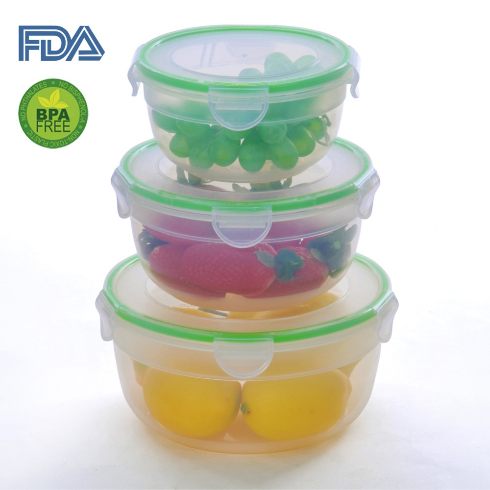 Airtight Food Storage Container Set with Locking System, Lunch Box, Set of 3, Big Size (Round)(China (Mainland))