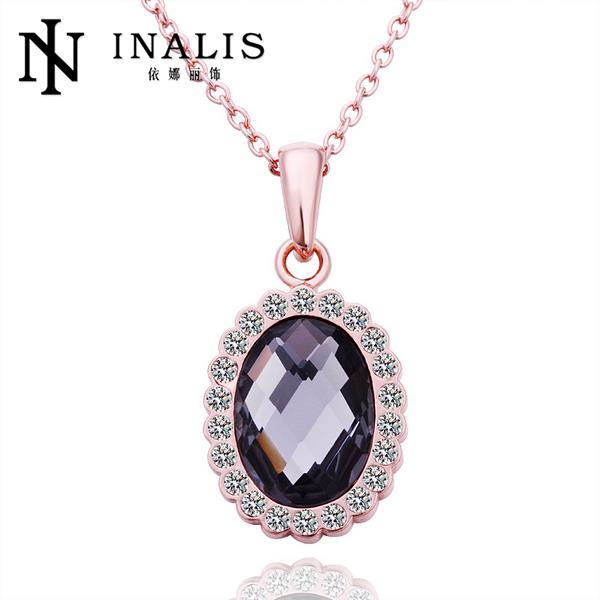N531 Wholesale Antiallergic 18K Real Gold Necklace Oval Shape Rhinestone Pave setting Fashion Pendant Fashion Jewelry(China (Mainland))