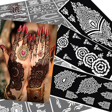 10 pcs Henna Tattoo Stencils Mehndi Indian Templates,Airbrush Lace Flower Hand Foot Wrist Henna Tattoo Stencils  For Body Paint(China (Mainland))