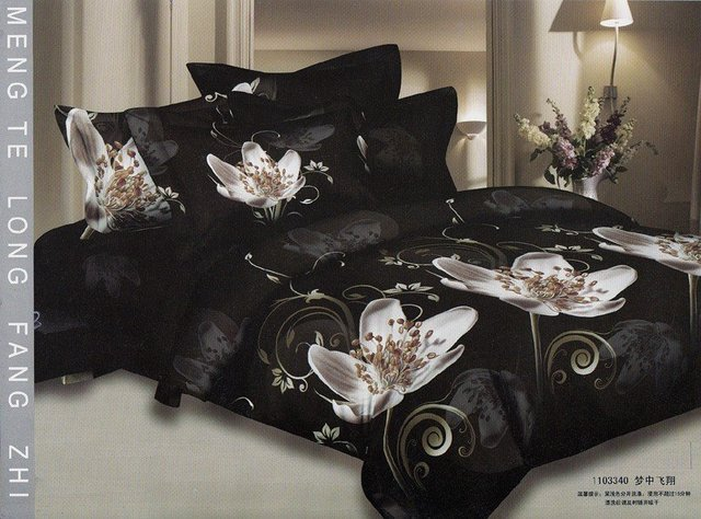 Hot Fashion New  Beautiful 100% Cotton 4pc Doona Duvet QUILT Cover Set bedding set Queen/  King size black white flower