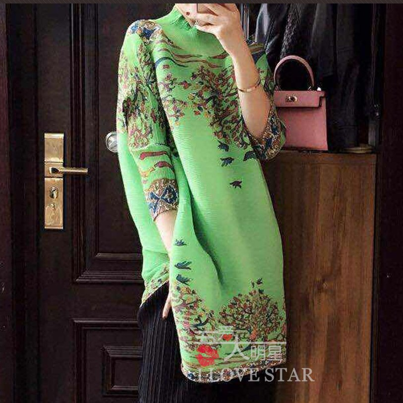 2016 women's spring vintage print a-line skirt loose half sleeve one-piece dress