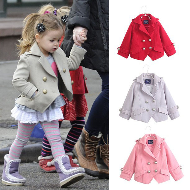 free shipping girls clothes jacket new 2014 autumn winter British Style turn down children outerwear girls wool coat suit 2~7age<br><br>Aliexpress