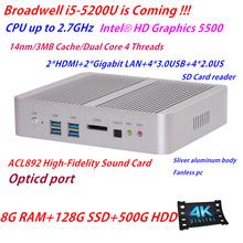 Intel 5th Gen Core i5 5200u 8G RAM 128G SSD+500G HDD HD 5500 HD 4K Fanless Mini ITX PC Rugged Case Windows HTPC TV Wintel Box(China (Mainland))