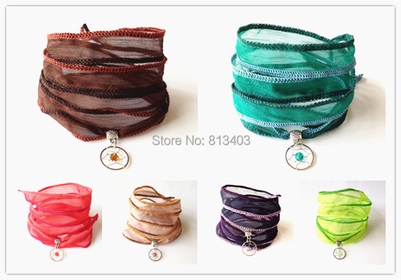 Cotton Yarn Silk Bracelet Wrap Bracelets Yoga Jewelry DIY Gift Dream Catcher Choose Style