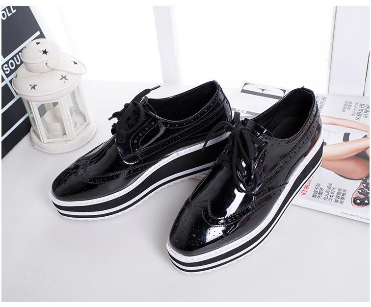 2016 Patent Leather Creepers Flat Shoes Women Oxford Platform Shoes For Woman Shoes Fashion Flats Women Moccasins  32-42