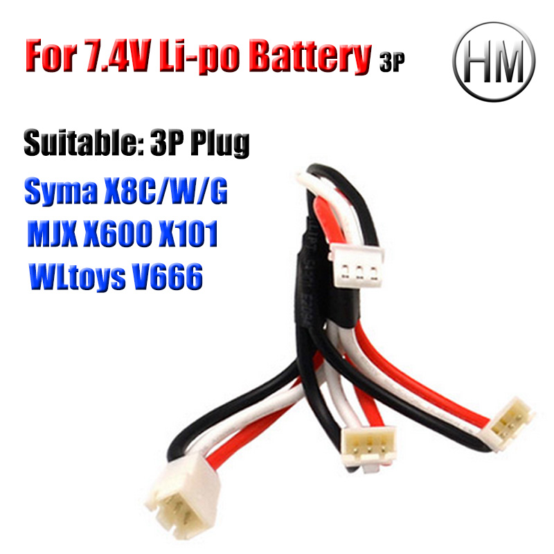 For 7.4 V 2S Li-po Battery SYMA X8C W G MJX X600 X101 WLtoys V666 RC Drone Battery Charger Plug Multi Output Cable Spare Parts<br><br>Aliexpress